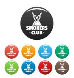 vape smokers club icons set color vector image