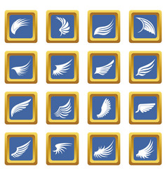 Wing icons set blue vector