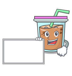 With board bubble tea character cartoon vector