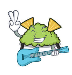 with guitar guacamole mascot cartoon style vector image