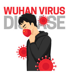 Wuhan virus disease poster background with man vector