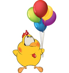 Chicken and toy balloons vector image