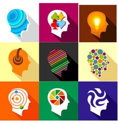 creative mind icons set flat style vector image