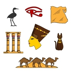 Egyptian religious and culture symbols vector image