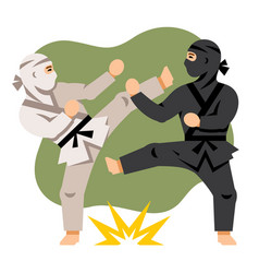 fight black and white ninja flat style vector image