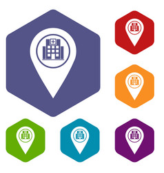Geo tag with hospital building icons set hexagon vector
