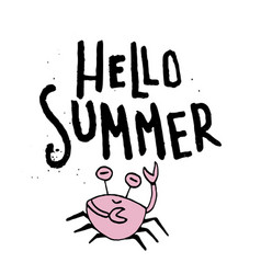 hand drawn lettering card - hello summer vector image vector image