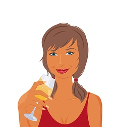 pretty girl with beverage vector image vector image
