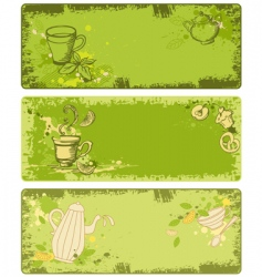 set of green tea banners vector image vector image