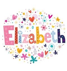 Elizabeth female name decorative lettering type vector image