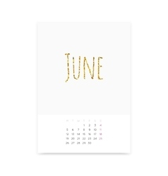 June 2017 Calendar Page vector image vector image