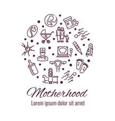 motherhood thin line icons round concept vector image vector image