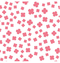 pink flowers print on white vector image