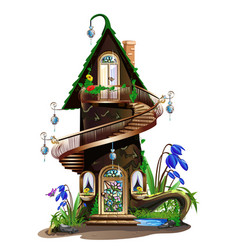 fairytale wooden house vector image vector image