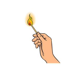 hand with burned match pop art vector image vector image