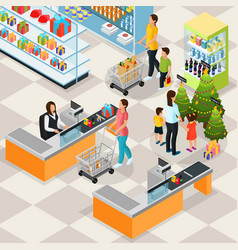isometric holiday shopping concept vector image