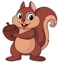 Squirrel cartoon with nut vector image