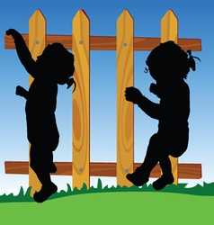 wooden fence with baby silhouette vector image