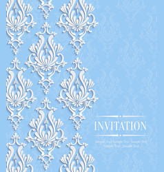 Blue Vintage Invitation Card with Floral vector image