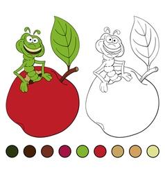 Funny cartoon worm in apple vector image