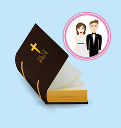 get married couple bible card image vector image