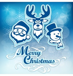 Mary Christmas poster on blue vector image vector image