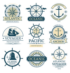 retro nautical labels badges logos and vector image
