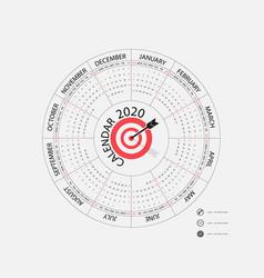 2020 calendar templatecircle calendar vector