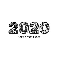 2020 lettering happy new year greeting or for vector image