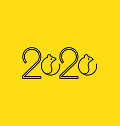 2020 logo vision type lettering design with rat vector image
