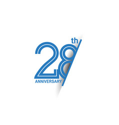 28 anniversary blue cut style isolated on white vector
