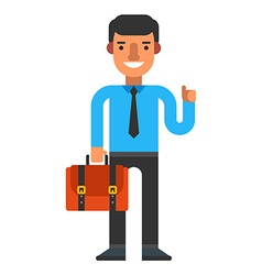 A guy with briefacse Coloured flat isolated on vector image