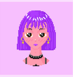 Anime girl pixel art 8 bit objects fashion vector