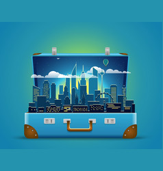 around the world concept modern cityscape night vector image