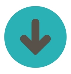 Arrow Down flat grey and cyan colors round button vector
