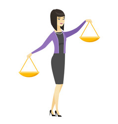 Asian business woman holding balance scale vector