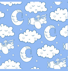 awesome seamless patterm with cartoon sleeping vector image