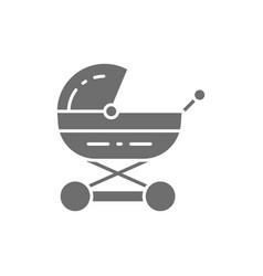 baby carriage stroller for newborn pram grey vector image