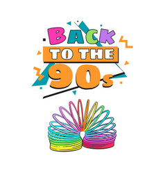 Back to 90s poster template with rainbow colored vector