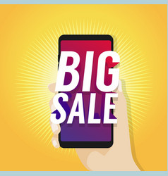 big sale on mobile in hand vector image