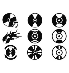 Black cd icons set vector