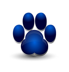 blue dog footprint paw icon logo vector image
