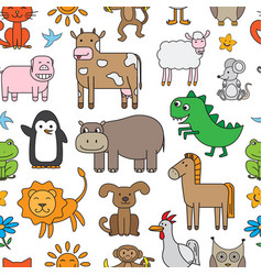 cartoon animals pattern vector image