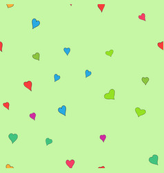 Chaotic colored doodle hearts seamless vector