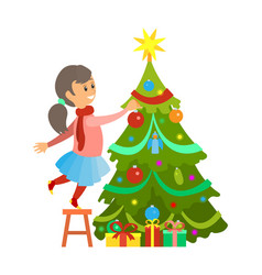 christmas preparation girl decorating pine tree vector image