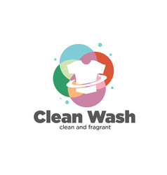 Clean wash service fast and dry for laundry logo vector