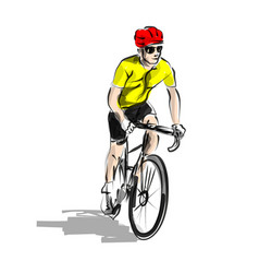 Color line sketch cyclist vector