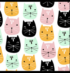 cute cats faces seamless pattern childish vector image