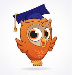 cute smart cartoon owl vector image