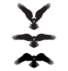 Dark evil heraldic raven with spread wings vector
